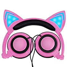 Lobkin Cat Ear Headphone, Foldable Wired Over Ear Kids Headphone with Glowing Light for Girls Children,Compatible for iPhone and Other Android Phones (Pink)