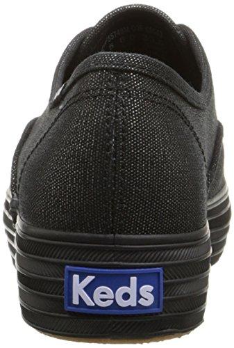 Black Fashion Womens Canvas Metallic Triple Keds Black Sneaker Womens Keds wOg8464