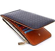 Edmen RFID Blocking Women's Leather Zipper Wallet Card Case Purse (Royal blue)