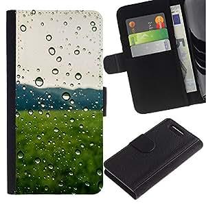 JackGot ( Gotas de lluvia Campo Verde ) Sony Xperia Z3 Compact / Z3 Mini (Not Z3) la tarjeta de Crédito Slots PU Funda de cuero Monedero caso cubierta de piel