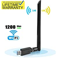 USB Wifi Dongle,1200Mbps USB 3.0 802.11 ac Wireless Wifi Network Adapter with Dual Band 2.4GHz/300Mbps+5.8GHz/866Mbps 5dBi High Gain Antenna for Desktop/Laptop Windows XP/Vista/7/8/10 Linux Mac