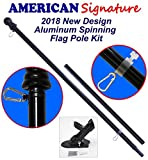 American Signature Flag Pole and Bracket Holder Kit: Includes Heavy Duty Aluminum Tangle Free Spinning Flagpole with Carabiners and Outdoor Wall Mount Bracket (Black, 6')