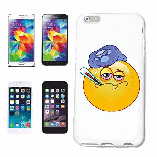 "cas de téléphone iPhone 6S ""SICK SMILEY AVEC THERMOMÈTRE ""SMILEYS SMILIES ANDROID IPHONE EMOTICONS IOS grin VISAGE EMOTICON APP"" Hard Case Cover Téléphone Covers Smart Cover pour Apple iPhone en blanc"