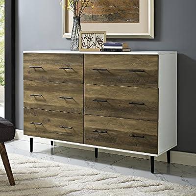 WE Furniture AZU52SV6DWRO 6-Drawer Reclaimed Dresser with Storage White/Rustic Oak