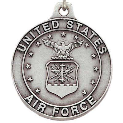 United States Air Force Antique Pewter Finished Keychain with Split Keyring and Chain - Pack of 6