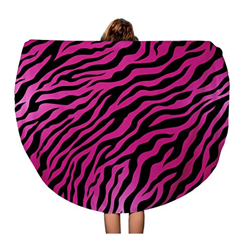(Semtomn 60 Inches Round Beach Towel Blanket Orange Tiger Pink Animal Skin Zebra Pattern Black Wild Travel Circle Circular Towels Mat Tapestry Beach Throw)