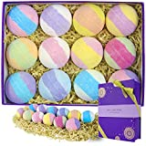 spa luxetique handcrafted bath bombs gift set, 3.2oz x 12 fizzies spa kit, natural vegan shea &