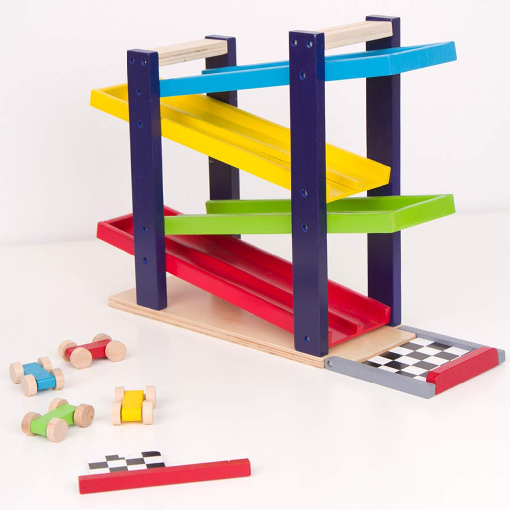 Amazon.com: B Blesiya Wooden Ramp Double Race Track Car Games with 4 Small Vehicle for Toddler Kids Gifts: Toys & Games