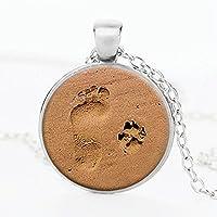 ERAWAN Fashion Lover Gift Charm Dog Paw Print Footprint Pendant Necklace Jewelry EW sakcharn (Silver)