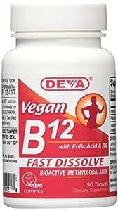 DEVA Vegan Vitamins Sublingual B12 1,000 mcg Tabs, 90 ct