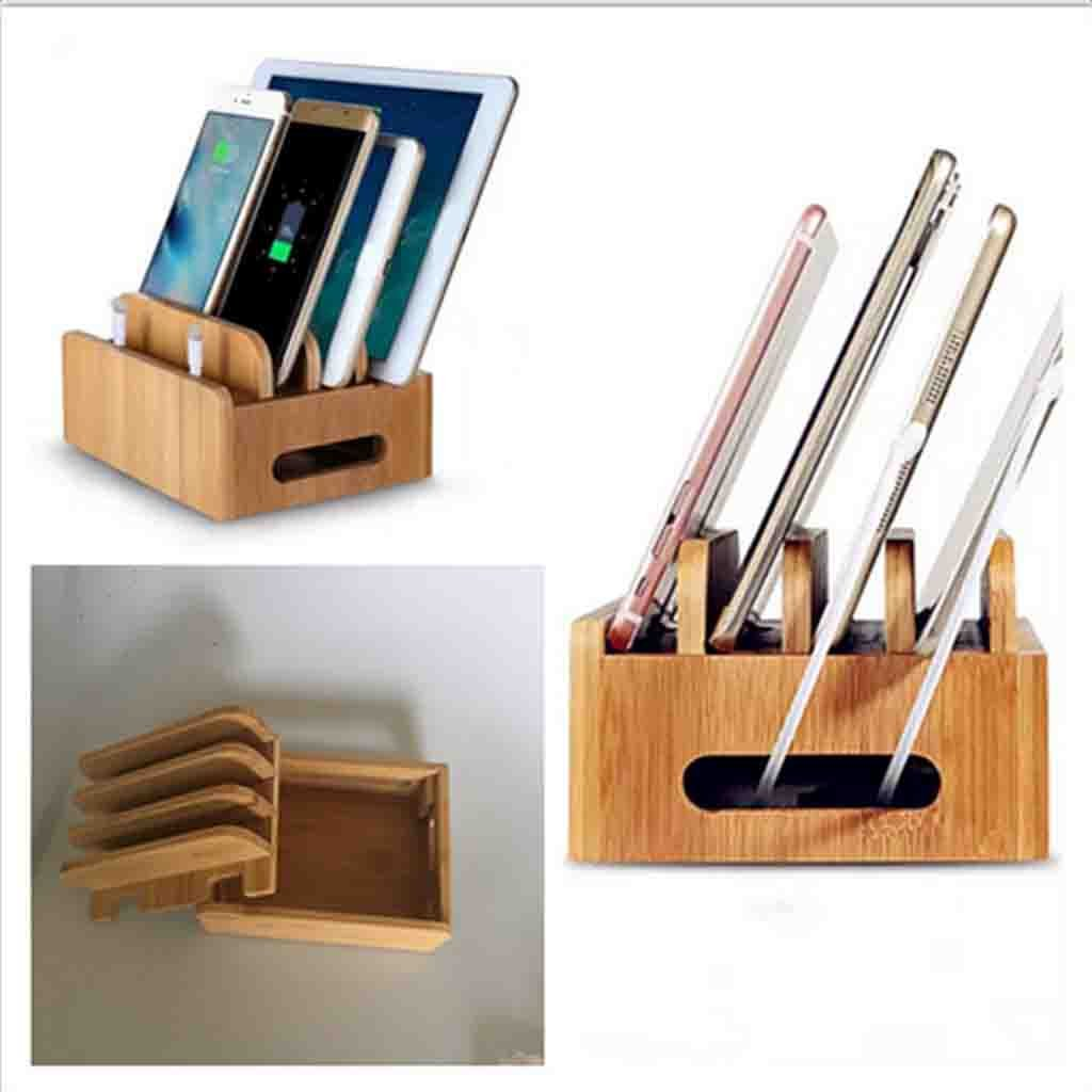 MagiDeal Cord Organizer, 4 Slots Bamboo Stand Multi-device Desktop Cords Organizer Dock Charging Station Holder with Built-in Insert Slots for Smartphones, Tablets and Laptops by MagiDeal (Image #9)