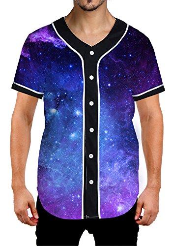 Uideazone Galaxy Baseball Shirt for Men Arc Hem Short Sleeve V-Neck Jersey Tee ()