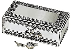 Elegance Silver Antique Silver Jewelry Box With Jeweled Lock