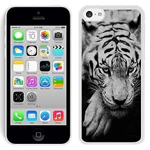 NEW Unique Custom Designed iPhone 5C Phone Case With White Siberian Tiger_White Phone Case