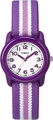 Timex Kids TW7C06100 Purple Resin Watch with Purple/Pink Striped Elastic Fabric Strap