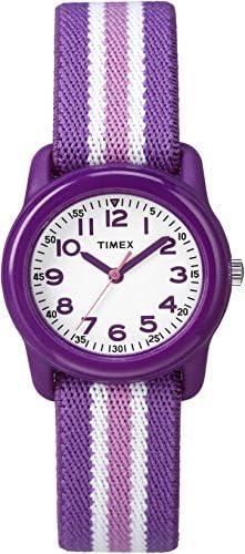 [Sponsored] Timex Girls TW7C06100 Time Machines Analog Resin Purple/Pink Stripes Elastic Fabric Strap Watch