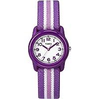 Timex Girls TW7C06100 Time Machines Analog Resin Purple/Pink Stripes Elastic Fabric Strap Watch