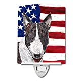 Caroline's Treasures Bull Terrier with American Flag Night Light, 6'' x 4'', Multicolor