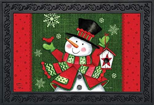 Briarwood Lane Snowman and Birdhouse Winter Doormat Snowflakes Indoor Outdoor 18 x 30