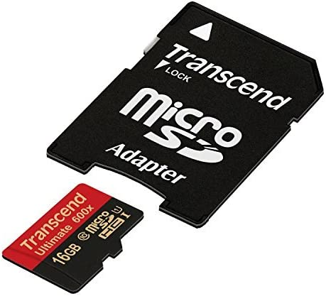 Transcend 16 GB MicroSDHC Class 10 UHS-I Memory Card with Adapter 90 Mb/s (TS16GUSDHC10U1) Micro SD Cards at amazon