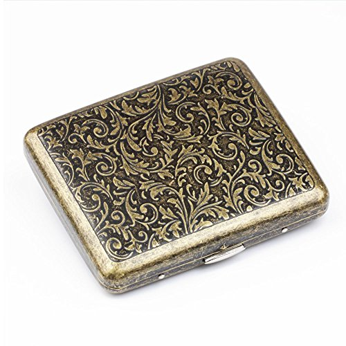 Vintage Metal Cigarette Case Stash Box, Double Sided Flip Open Pocket Tobacco Storage Case - Hold 20 Regular Size Cigarettes (Gold) by Meelife