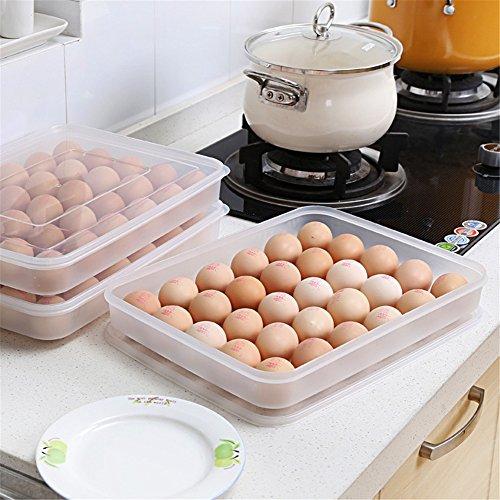 simonshop Gran Capacidad 30Grids Huevo Caja de almacenamiento de plástico recipiente con tapa para alimentos (refrigerador...