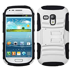 Fits Samsung i8190 Galaxy S III mini Hard Plastic Snap on Cover White/Black Advanced Armor Stand AT&T
