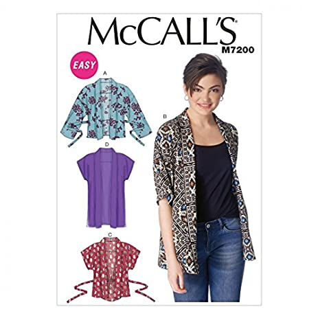 Amazon.com: McCalls Ladies Easy Sewing Pattern 7200 Kimono Jackets ...