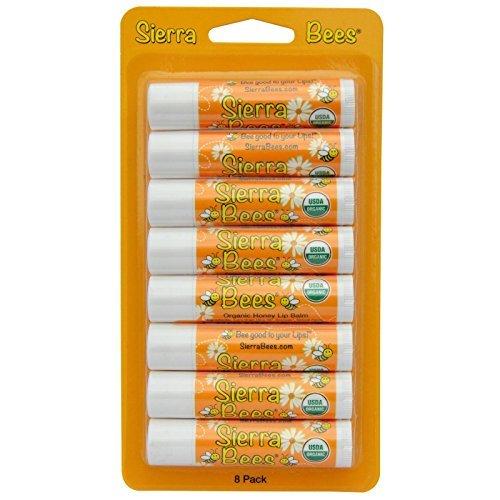 15 Oz Lip Balm - Sierra Bees Organic Lip Balms Honey 8 Pack 15 oz 4 25 g Each