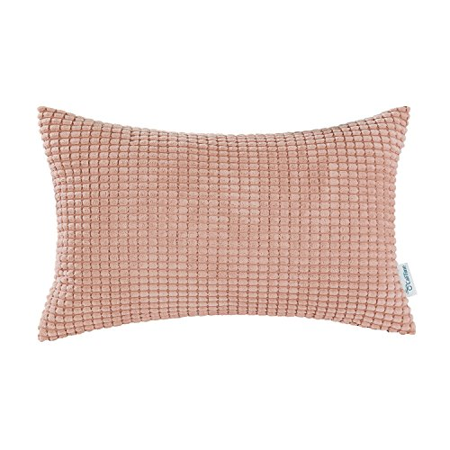 (CaliTime Cozy Bolster Pillow Cover Case for Couch Sofa Bed Comfortable Supersoft Corduroy Corn Striped Both Sides 12 X 20 Inches Coral Pink)