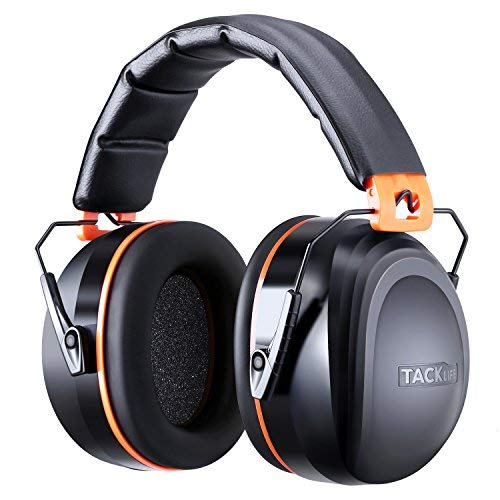 Noise Reduction Safety Ear Muffs, Tacklife [Reinforced] NRR 28dB Shooters Hearing Protection Ear Muffs, Adjustable Headband, Noise Cancelling Headphones for Kids and Adults - HNRE2 (Best Noise Cancelling Earmuffs)