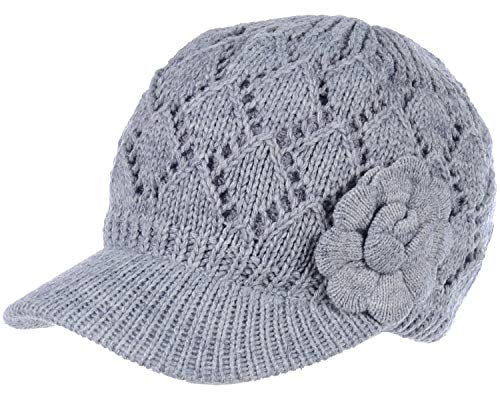 BYOS Womens Winter Chic Cable Knitted Newsboy Cabbie Cap Beret Beanie Hat with Visor, Warm Plush Fleece Lined, Many Styles (Diamond Pattern w/Flower Gray)