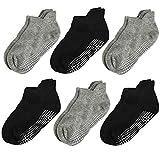 Aminson Grip Ankle Low Cut Athletic Socks - Kids Boys Girls Anti Non Skid Slip Slipper Crew Socks 6-12 Pack (7-10 Years, 6 Pairs-Black/Grey)