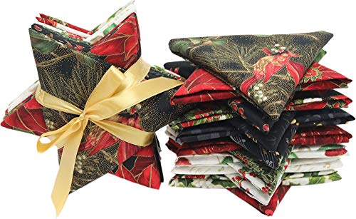Jingle Stars Gold 15 Fat Quarter Holiday Pack from Hoffman by The Pack (Cotton Fabric Quilt Holidays)