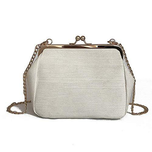 Borsa a paglia tasca Moontang rosa colore dimensioni Bag in tracolla colore a beige bianco con Satchel tracolla intrecciata 1YEq0