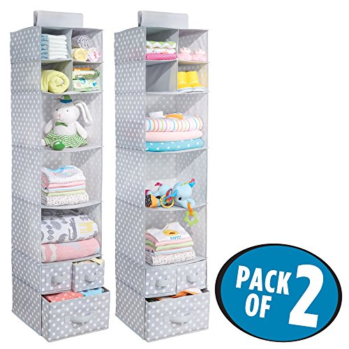 mDesign Soft Fabric Over Closet Rod Hanging Storage Organizer with 7 Shelves and 3 Removable Drawers for Child/Baby Room or Nursery – Polka Dot Pattern, Set of 2, Light Gray - Dot Polka Rod
