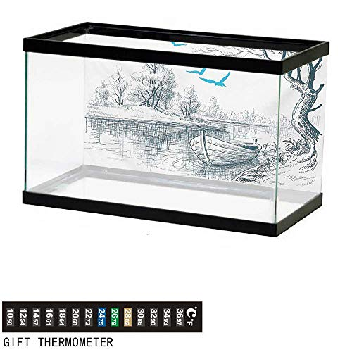 wwwhsl Aquarium Background,Landscape,Boat on Calm River Trees Birds Twigs Sketch Drawing Clipart Water Minimalist,White Gray Blue Fish Tank Backdrop 60