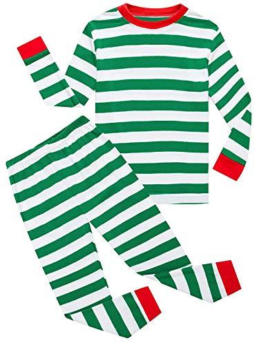 (Dutebare Boys Christmas Pajamas Kids Xmas PJS Toddler Striped Pants Set Sleepwear Green Striped)