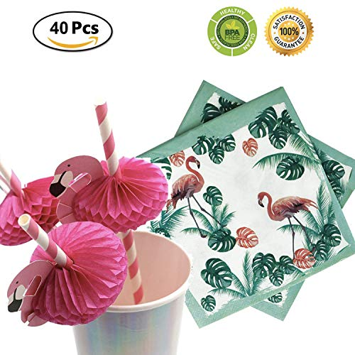 (Pink Flamingo Straws & Flamingo Napkins, for Lula Party Supplies/Hawaiian / Birthday/Pool Party Decorations 40)