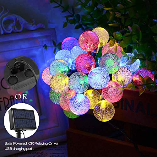 Arichomy  Valentine Decorative Lights, 30 Globe Starry Bulbs String Lights, Solar Led Fairy Lights for Party Wedding Patio Indoor Outdoor and More