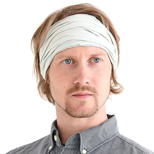 Light Gray Japanese Bandana Headbands for Men and Women – Comfortable Head Bands with Elastic Secure Snug Fit Ideal Runners Fitness Sports Football Tennis Stylish Lightweight ()