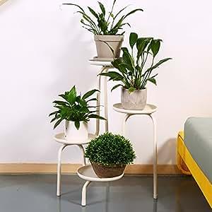 European-style iron creative multi-storey flower rack / balcony living room interior floor pots ( Color : White )