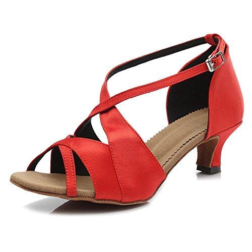 YFF Ballsaal Salsa tango Latin Dance Schuhe Mädchen Frauen 50 mm und 65 mm-Absatz, Schwarz 65 mm, 3,5