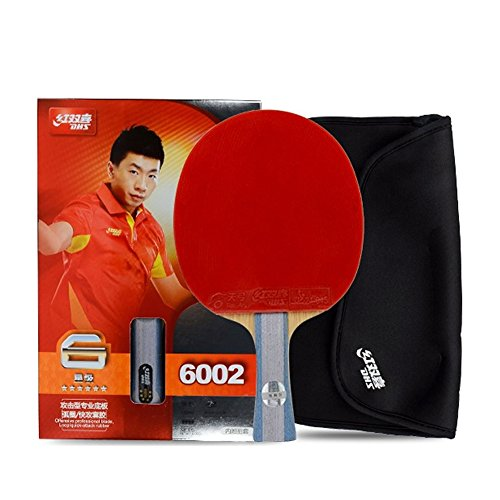 DHS 6-Star 6002 Shake Hand Premium Table Tennis Racket Ping Pong Paddle Blade Inverted Rubber with Carry Case