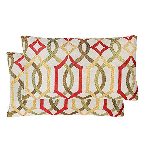 100% Rayon Hand Wash (Pack of 2 SimpleDecor Jacquard Geometric Links Accent Decorative Lumbar Throw Pillow Covers Multicolor 12X20 Inches Red)
