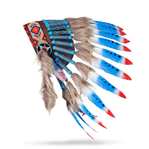 Boho Basics Native American Indian Inspired Feather Headdress Red White Blue (Length: Small)
