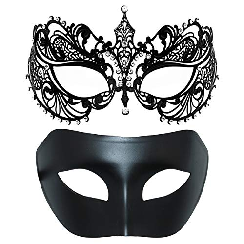 One Pair Couple's Venetian Masquerade Masks,Crown Mask Costumes Mardi Gras Prom Mask (Black+Black) -