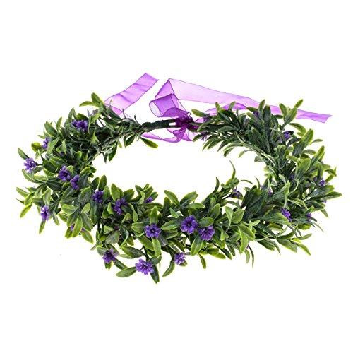02 Flower - Floral Fall Christmas Flower Crown Vintage Nature Berries Festival Woodland Wedding Headband HD-02 (Y Purple Flower)