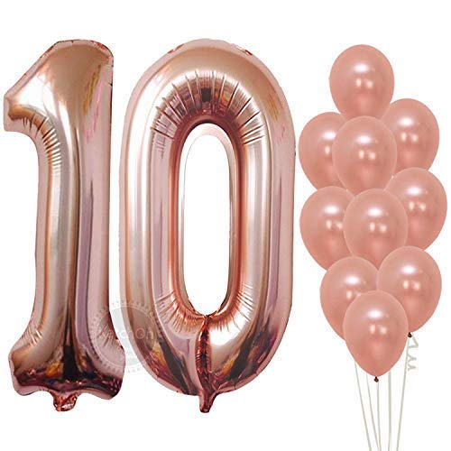 (Rose Gold 10 Number Balloons Decorations - Extra Latex Balloons and Foil Mylar Ballons | 10th Birthday Party Decorations | 10 Year Party Supllies for Bday Decor, Anniversary, 32 Foot Balloons String)