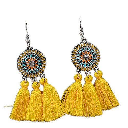 BODYA Bohemian Style Long Tassel Drop Dangles Unique Sunflower Earrings Alloy-Plated Fishhook Stud (Yellow) (Yellow Earring Fish)